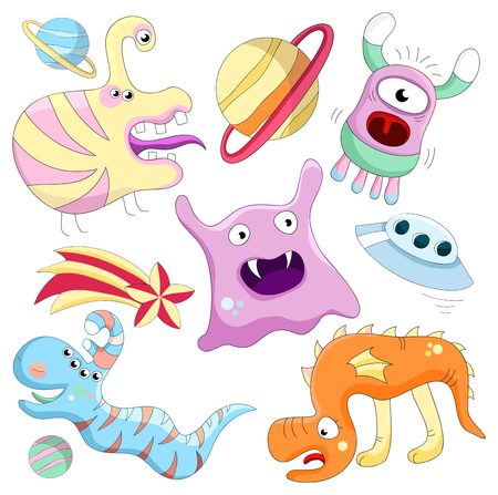 set of aliens and monsters. Isolated over white Vector