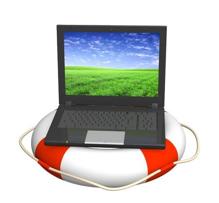aro salvavidas: Concepto de Internet - ayuda en el mundo virtual