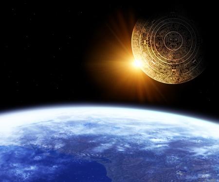 Horizontal background with Maya calendar and Earth Stock Photo - 8360746