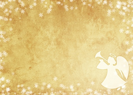 Christmas grunge background with angel. Paper texture photo
