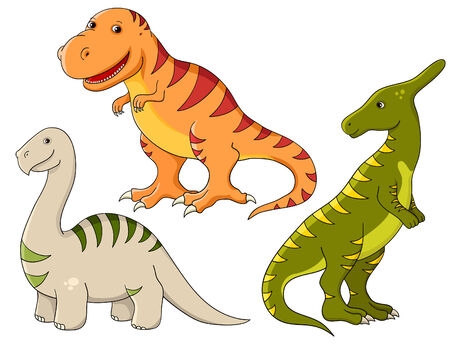 brontosaurus:   funny dinosaurs. Tyrannosaurus, brontosaurus and saurolophus