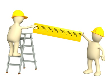 explained: 3d builders with ruler. Isolated over white