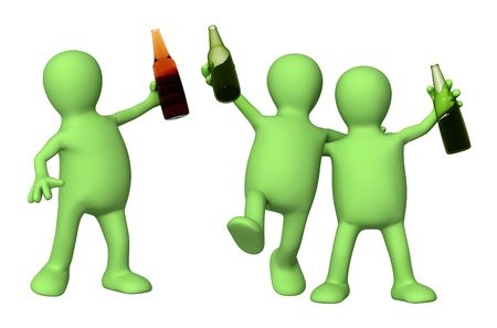 Cheerful friends with bottles of beer. Isolated over white photo