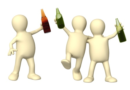 Cheerful friends with bottles of beer. Isolated over white Stock Photo - 8387540