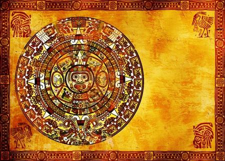 Maya calendar on ancient wall photo