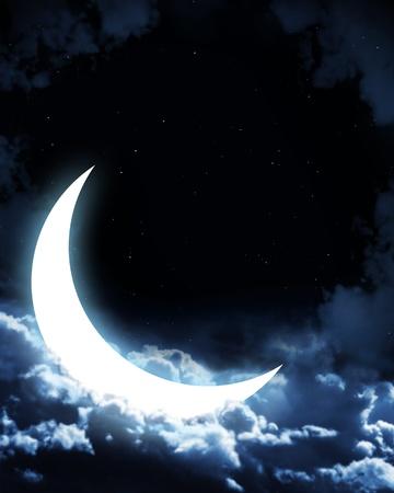 luminosity: Night fairy tale - bright moon in the night sky Stock Photo