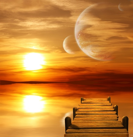 Collage - sunset in alien planet Stock Photo - 8387546