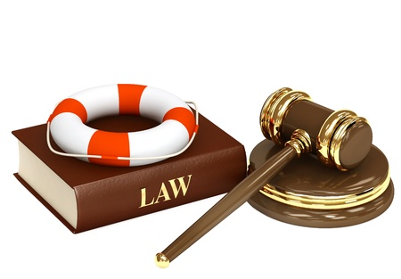 legislation: Legal aid. Hammer, book and lifebuoy Stock Photo