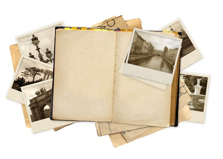old notebook: Grunge background with old notebook and photos