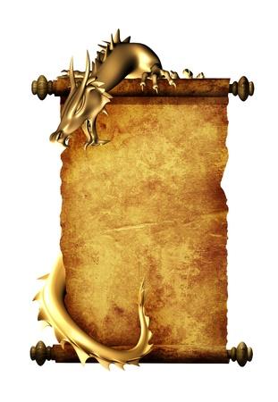dragones: Drag�n y el rollo de pergamino antiguo. Objeto aislado en blanco Foto de archivo