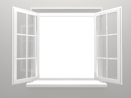 opened: Opened plastic window. 3d render