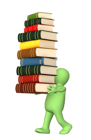 3d puppet with books. Isolated over white photo