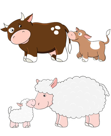 Vector cows and sheep. Farm animals with babys Vector