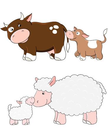 k�lber: Vector K�he und Schafe. Zuchttieren mit babys