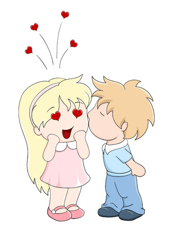 Boy kisses the girl on cheek. Vector illustration in manga style Vector