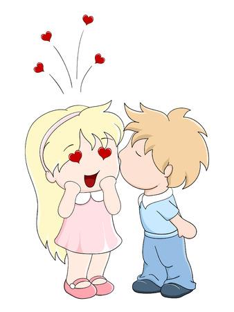 manga style: Boy kisses the girl on cheek. Vector illustration in manga style Illustration