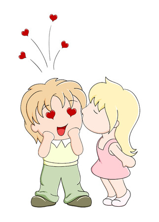 Girl kisses the boy on cheek. Vector illustration in manga style Vector