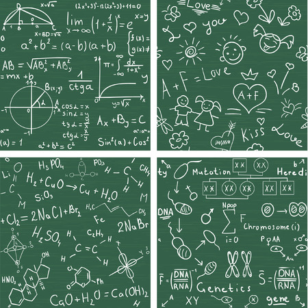 Education - set with four seamless vector backgrounds