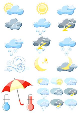 Conjunto de un iconos del clima de vector brillante