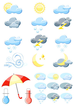 meteorology: Set of a glossy vector weather icons