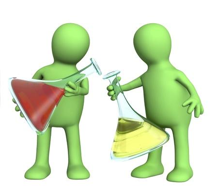 sustancias toxicas: Dos marionetas con reactivos qu�micos. Aislado en blanco