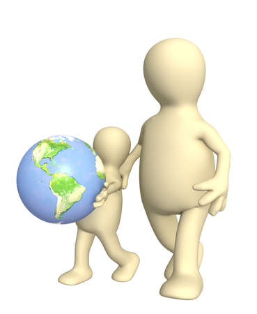 Adult and child with Earth. Isolated over white photo