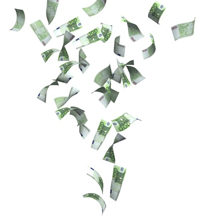 money flying: Symbol of wealth and success -  rain from euro