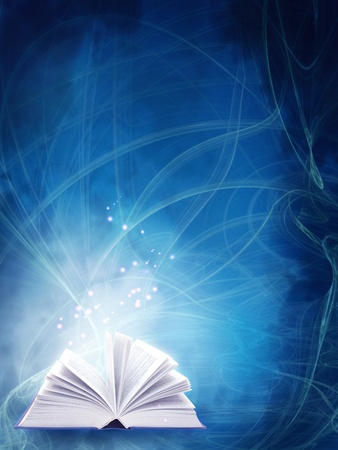 research education: Vertical background of blue color with magic book