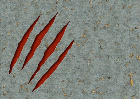 ripped metal: Horizontal background - metal, ripped monster claws