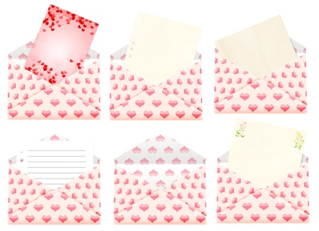 Romantic message. Six envelopes with valentine cards photo