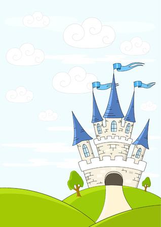 castillo medieval: Castillo de fantas�a en colinas verdes Vectores