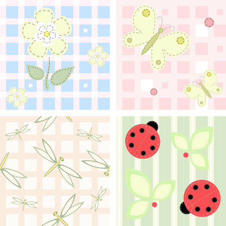 seamless checkered and striped backgrounds Vector