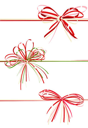collection gift bows of red color Vector