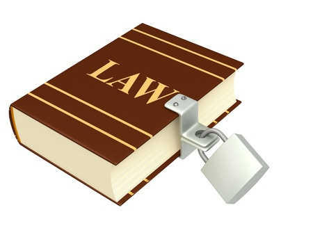 data protection act: Code of laws, closed on the lock. Object isolated over white
