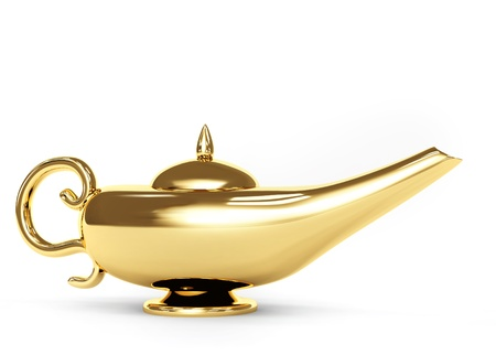 Symbol performance of desires - magic lamp. Object over white Stock Photo