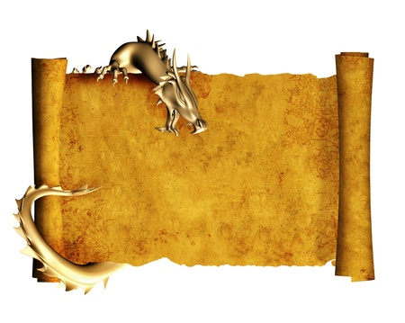 Dragon and scroll of old parchment. Object isolated over white photo