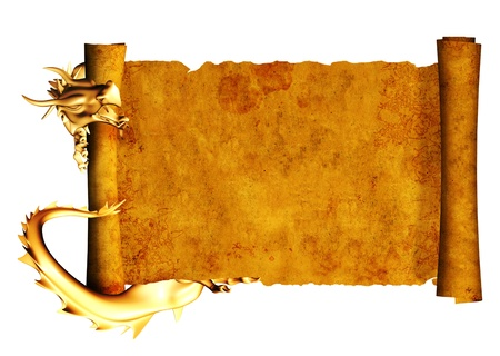 medieval scroll: Dragon and scroll of old parchment. Object isolated over white Stock Photo