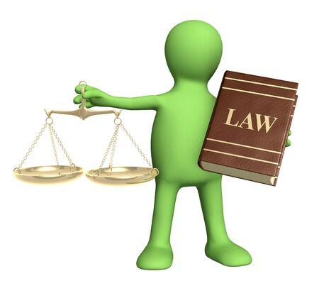 derechos humanos: T�tere con escalas de oro y c�digo de leyes. Aislado en blanco