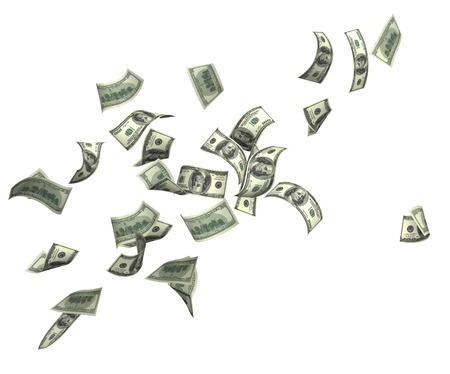 money flying: Symbol of wealth and success -  rain from dollars. Isolated over white Stock Photo