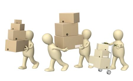 moving boxes: Four puppets with boxes. Isolated over white Stock Photo