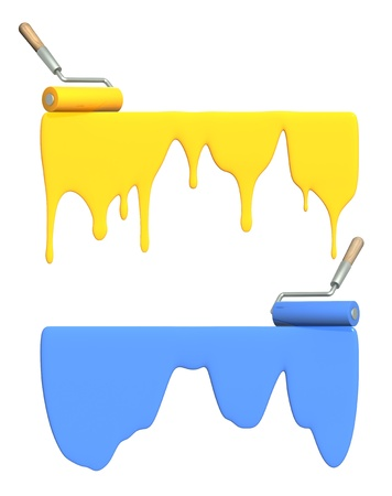 Platen painting with an blue and yellow paints. Isolated over white photo