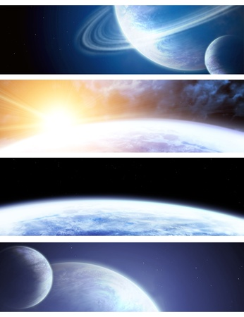 Collection - four horizontal space banners Stock Photo - 8664804