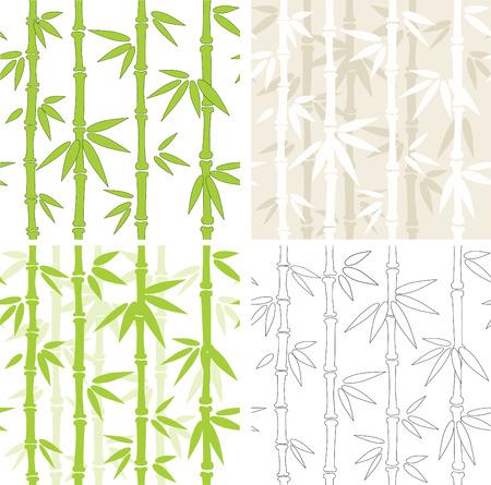 japones bambu: Colecci�n - cuatro fondos sin fisuras con bamb� Vectores