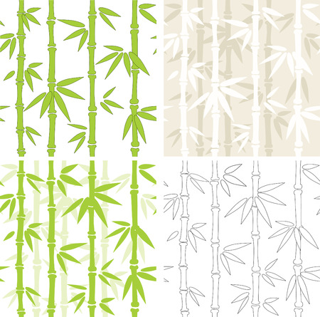 bamboo leaves: Collection - four seamless   backgrounds with bamboo