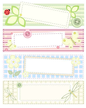 Set - four vector banners with patchwork Vector