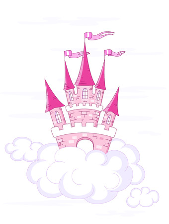 fantasy castle on white clouds Stock Vector - 8664789