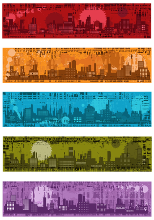 Collection of   grunge banners with towns Stock Vector - 8713167