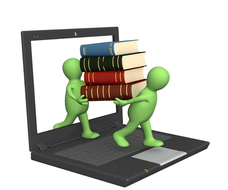 online learning: Conceptual image - library online. 3d render