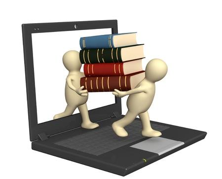 図書館: 概念的なイメージ - ライブラリをオンラインにします。3 d のレンダリング