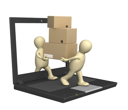 the loader: Purchase and delivery of goods through Internet Stock Photo